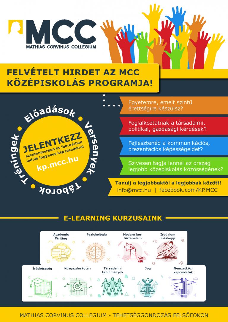 Mathias Corvinus Collegium plakátja